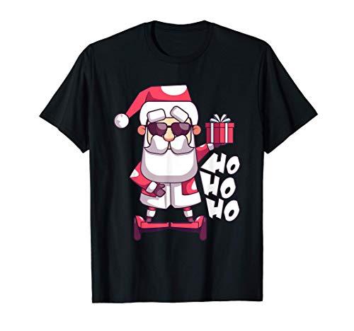 Divertido pijama de Navidad de regalo de Santa Hoverboard Camiseta