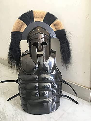 Casco medieval corintio griego con armadura muscular chaqueta traje de recreacin