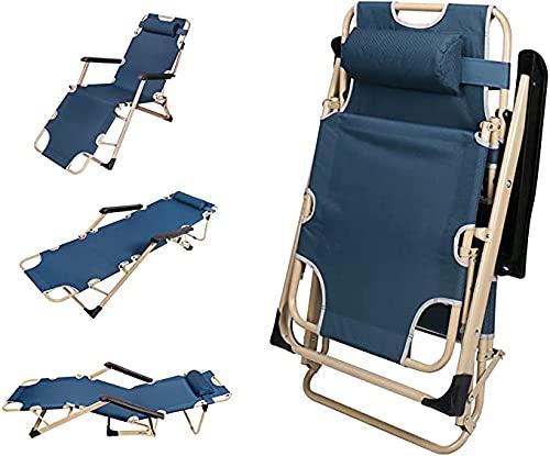 YWARX Sillones para Exteriores para Exteriores,sillones Plegables para Broncearse,reposapiés Ajustables y apoyabrazos Acolchados,Barra de Refuerzo de Soporte del Respaldo 70 x 26 x 12,6 Pulgadas,Azul