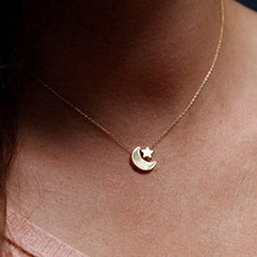 Jovono Collar de gargantilla con colgante de luna creciente y estrella, joyería para mujeres y niñas