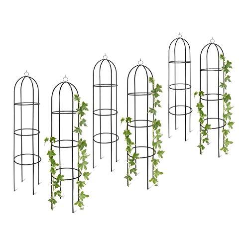 Relaxdays 6X Rankobelisk, Rankhilfe freistehend, dekoratives Rankgestell für Garten, Rankturm, Metall, grün, HBT: 190 x 40 x 40 cm