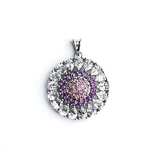 HIFLYER JEWELS Colgante de turmalina rosa con aspecto vintage, colgante redondo de amatista para collar, joyería de topacio blanco, regalo de San Valentín para ella 925 joyas de plata de ley