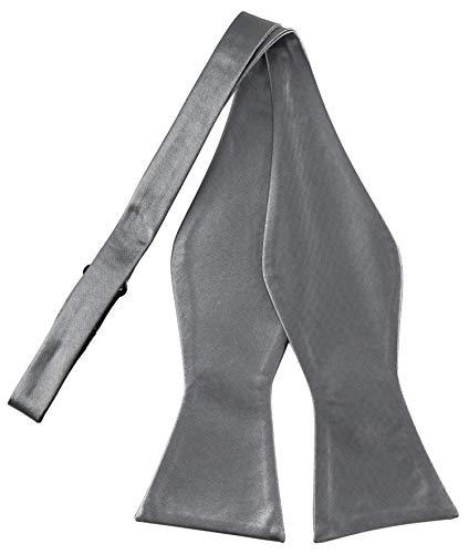 Helido Fliege für Herren zum selbst-binden, 12 verschiedenfarbige Schleifen/Fliegen passend zu Hemd und Anzug oder Smoking + Geschenkbox (Grau)