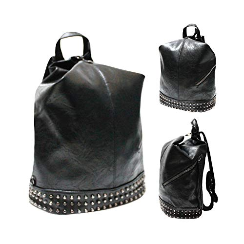 olvbug Zaino donna borchie nero fango rosa marrone eco pelle viaggio lavoro 33x30x15 F16121 (Nero)