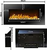 JUNG Classicfire Elektrokamin mit Heizung, Wandkamin mit 2000W, LED Kaminofen Kaminfeuer mit Feuereffekt, Dekokamin Elektroheizung, Elektrischer Kamin,inkl. Fernbedienung, Glasfront, Dimmer,Thermostat - 6