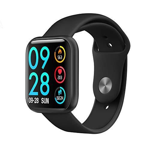 Accbooo Fitness-Tracker, Intelligente Uhr Mit Herzfrequenzmesser, Aktivität Tracker Pedometer Schlafmonitor, IP68 Wasserdichter Uhr, Für Kinder Geeignet Frauen,Black1