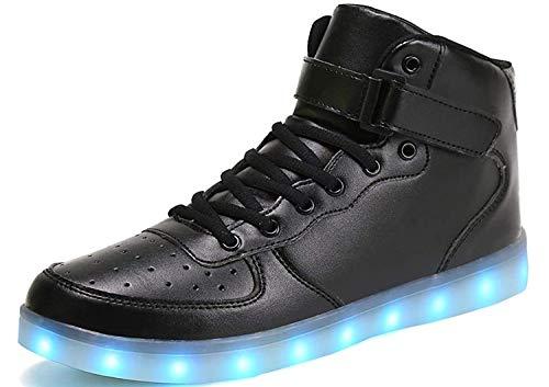 IGxx Men LED Light Up Sneakers for Men High Top LED Shoes Light Up USB Recharging Shoes Women Glowing Luminous Flashing Light Shoes LED Kids Halloween Black