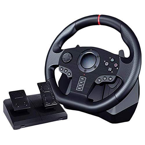 Volant PC USB, Pedalier Avec Levier Vitesse, Vibration Deux Moteurs - Gaming Course, Rotation à 270 ° / 900 ° commutable Et Sensibilité Réglable, for PS4 , PS3, PC, SWITCH, XOBX, Nintendo, Android