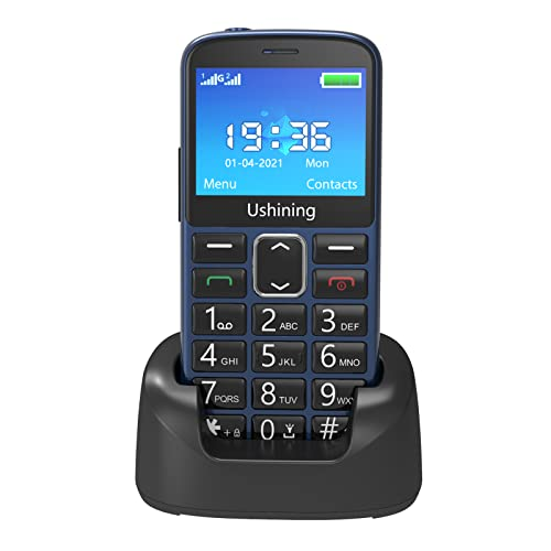 Ushining Teléfono móvil para personas mayores, teléfono móvil con teclas grandes volumen alto función SOS base de carga, dispositivos acústicos compatibilidad – Azul