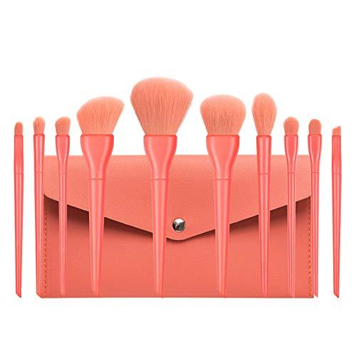 Juego de 10 brochas de maquillaje para base, delineador de ojos, colorete cosmético, corrector, mini brochas de maquillaje, mango brillante, portátil, suave y funcional