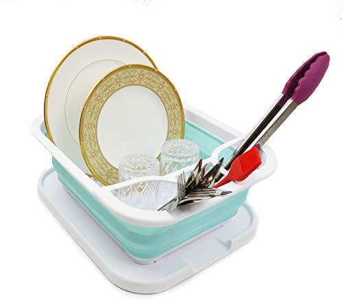 SAMMART Escurridor de platos plegable con bandeja – Juego de escurridor plegable – Organizador de vajilla portátil – Bandeja de almacenamiento de cocina para ahorrar espacio (1, blanco/verde lago)