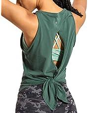 CRZ YOGA Women's Pima Cotton Workout Sleeveless Shirts Round Neck Yoga Vest Open Back Sport Tank Tops Black X-Small