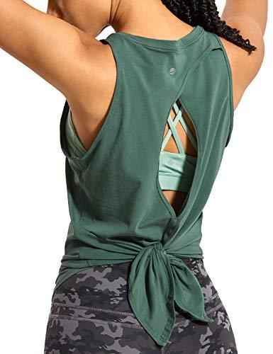 CRZ YOGA Mujer Camisas sin Mangas Deportivas Camisetas Chaleco Yoga Cuello Redondo Tops Deportes Espalda Abierta Verde Grafito 44
