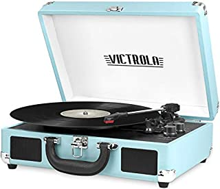 Victrola Vintage 3-Speed Bluetooth Portable Suitcase Record Player with Built-in Speakers | Upgraded Turntable Audio Sound| Includes Extra Stylus | Turquoise, Model Number: VSC-550BT-TQ