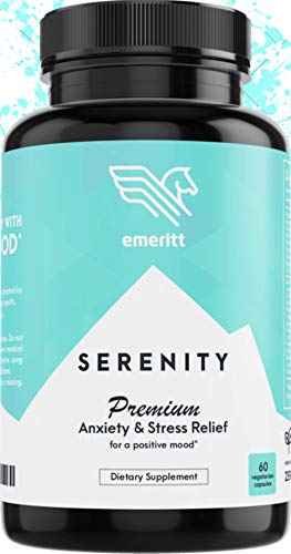 Serenity Anti Anxiety Supplement - Herbal Blend for Stress Relief, Natural Calm and Positive Mood Boost - No Niacin Flush - with Ashwagandha, Rhodiola, B12, L-Theanine, 5-HTP - 60 Veg Capsules
