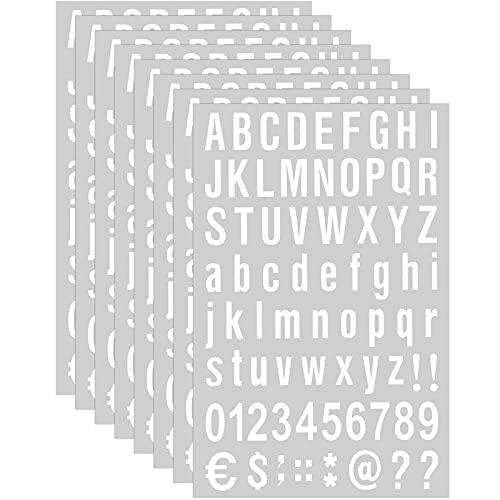 8 Blätter Selbstklebendes Vinyl Buchstaben Zahlen Kit, Briefkasten Nummern Aufkleber für Postkasten, Schilder, Fenster, Tür, Autos, Lastwagen, Heim, Adress Nummer (Weiß, 1 Zoll)