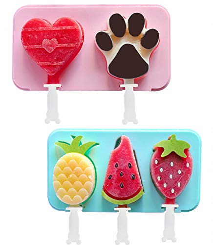 Lamapee Ice Lolly Moulds, Set of 2 Ice Lolly Moulds Silicone for Childrens, with 2* Lids and 6* Sticks