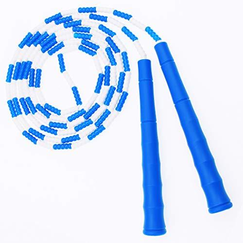 縄跳びビーズロープ子供用初心者向けジャンプロープねじれ防止なわとび大人用トレーニング有酸素運動長さ調整可(ブルー)