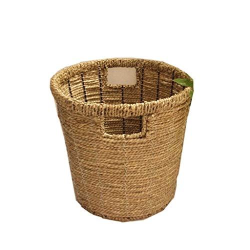 Aveo Papelera hecha a mano con pajita rota de papel, cesta de almacenamiento de basura, cesta de mimbre, cesta de preparación de bambú