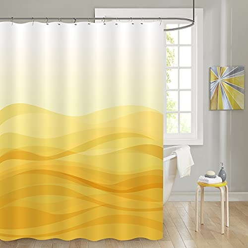 MitoVilla Gold Ombre Art Deco Shower Curtain Set with Hooks, Modern Simple Gradual Color Design Abstract Sand Wave Striped Bathroom Decor, Yellow Bathroom Curtain, Lemon, Yellow Cream, 72' W x 78' L