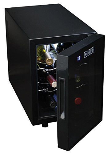 Koolatron WC06 Thermoelectric Cooler with Digital Temperature Controls, 6 Bottle Capacity-Wine Cellar with Double Paned Insulated Glass Door, Black