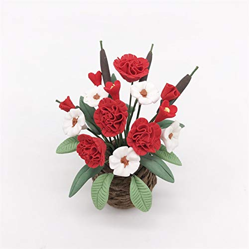 YOPDNE Miniatura jardín Sala de Estar balcón decoración Floral Blanca y roja para Que coincida con el Color Tejido