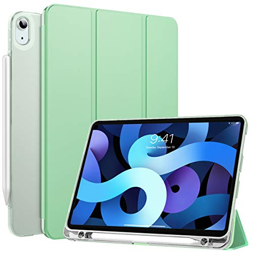 MoKo Cover Protettiva per iPad Air 4a Generazione 2020 Nuovo iPad 10.9 2020, Case in TPU con Supporto Integrato Custodia a Tri-Fold, Protezione Urti Graffi Accessori, Verde