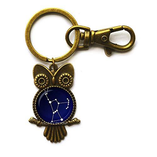 Orion Sternbild Schlüsselanhänger aus Glas, Nachthimmel Eule Schlüsselanhänger, Sterne, Astronomie, Weltraum-Schmuck, Glas-Cabochon-Schlüsselring, Y202