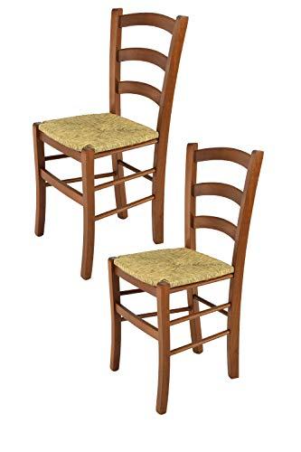 Tommychairs - Set 2 sillas Venice para Cocina y Comedor, Estructura en Madera de Haya Color Nuez Claro y Asiento en Paja