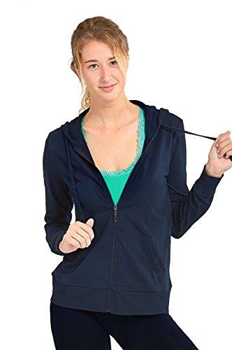 Teejoy Women's Thin Cotton Zip Up Hoodie Jacket (M, Navy)