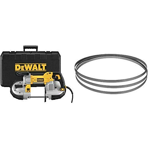 DEWALT DWM120K 10 Amp 5-Inch Deep Cut Portable Band Saw Kit with DEWALT DW3982 .020-by-44-7/8-Inch 14 TPI Portable Band Saw Blade, 3-Pack