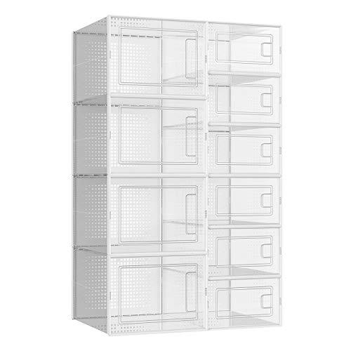 SONGMICS Schuhboxen, 10er Set, Aufbewahrungsboxen für Schuhe, Schuh-Organizer mit 6 kleinen und 4 großen Boxen, stapelbar, für Schuhe verschiedener Größe und Art, transparent LSP010W01