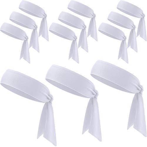 WILLBOND 12 Pieces Tennis Tie Headband Hair Band Unisex Dry Head Tie Sport Tie Back Headband for Basketball, Running, Tennis, Karate, Athletics (White)