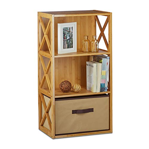 Relaxdays Regal Bambus mit Korb, 3 Ablagen, Holz Standregal, Badregal, Faltbox, HxBxT: 80 x 42 x 29 cm, natur braun