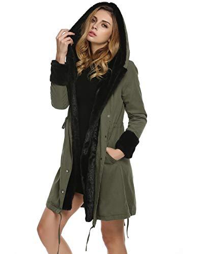 Nvfshreu mantel met capuchon voor dames, lang, winter, kunstbont, parka, modieus, elegant, comfortabele, lange mouwen, warm, verdikt, outdoor, coat, winterjas, hoogwaardig