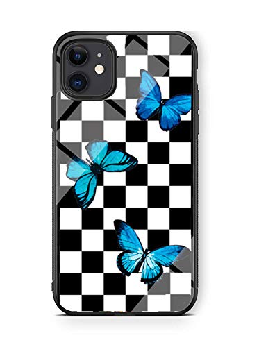 Hng Kiang Hu iPhone 11 Case, Butterfly Checks Checkered Flag Pattern Thin Soft Black TPU +Tempered Mirror Material Protective Case for Apple iPhone 11 Cases (Blue Butterfly)
