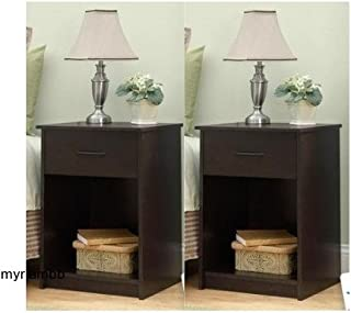 Set of 2 Nightstand MDF End Tables Pair Bedroom Table Furniture Multiple Colors (Brown)
