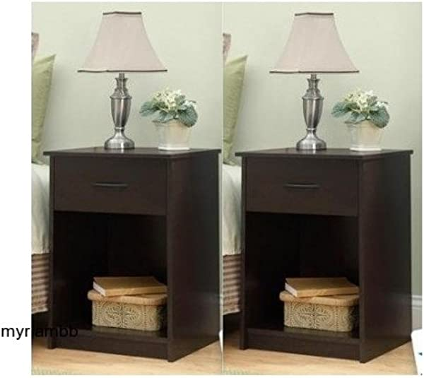 Set Of 2 Nightstand MDF End Tables Pair Bedroom Table Furniture Multiple Colors Brown