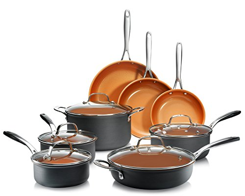 Gotham Steel Pro Hard Anodized Pots and Pans 13 Piece Premium Cookware Set with Ultimate Nonstick Ceramic amp Titanium Coating Oven and Dishwasher Safe Brown