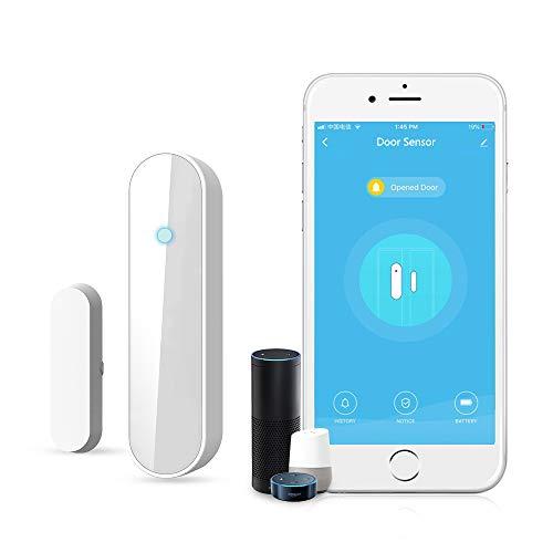 Wireless WiFi Tür & Fenster Sensor Magnete Sicherheit Offen Kompatibel Mit Alexa Google Assistant IFTTT, Fenstersensor Mit TUYA/Smart Life APP, Batterie-Betrieb, Öffnen/Schließen 3000mal Mit Batterie