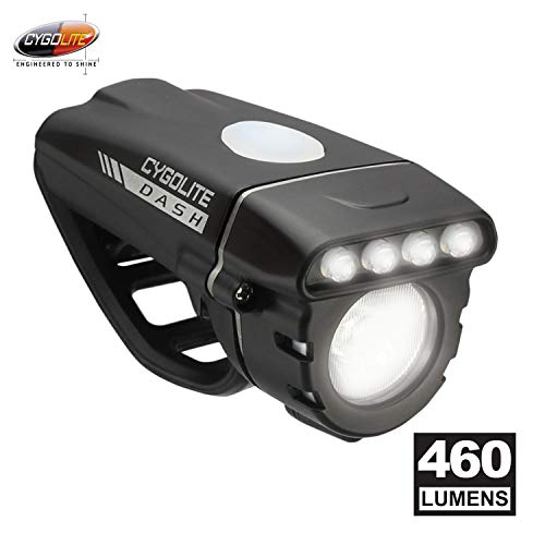 CYGOLITE Dash– 460 Lumen Bike Light– 5 Night & 3 Daytime Modes– Compact & Durable– IP64 Water Resistant– Sturdy Flexible Mount– USB Rechargeable Headlight– for Aero Road & Commuter Bicycles