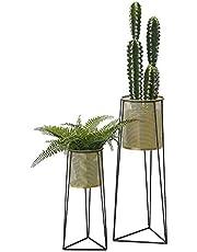 [en.casa] Soporte para Plantas de Metal 2 Piezas 38,5 cm x 16,5 cm y 55,5 cm x 21 cm Estantería para macetas Bastidor para macetas Color Cobre Amarillo y Negro