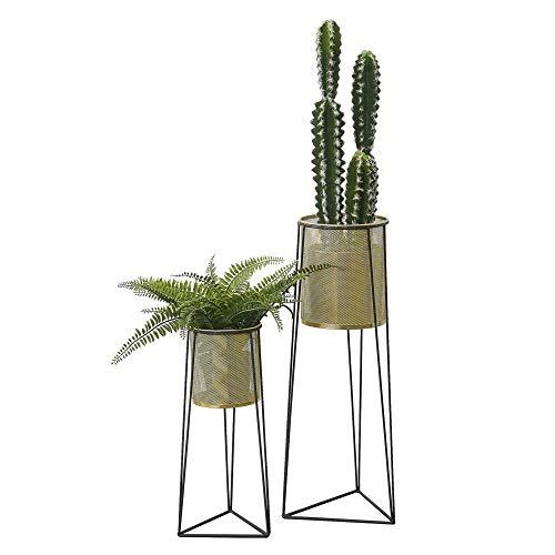 [en.casa] Blumenständer im 2er Set Pflanzständer aus Metall Blumentopf Ständer mit Übertopf Blumentopfhalter 2-TLG. Pflanztopf Deko Schwarz Messingfarben