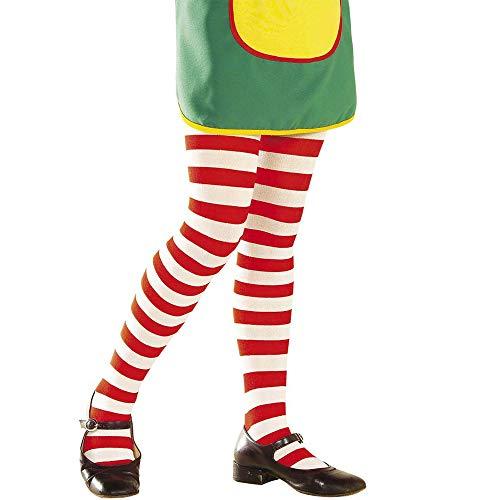 Widmann 01232 – Kinderstrumpfhose, rot-weiß gestreift, 70Den, für Pippi Langstrumpfkostüme, Strumpfware, verschiedene Größen, Motto Party, Karneval