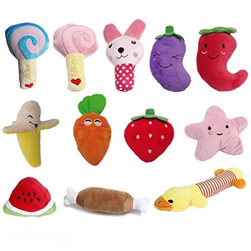TVMALL 12er Pack Hund Quietschspielzeug für kleine Hunde Nettes Welpen-Plüschspielzeug-Set Obst Snacks und Gemüse Hunde kauspielzeug für kleine, mittelgroße Hunde, Katzen, Interaktives Spielzeug