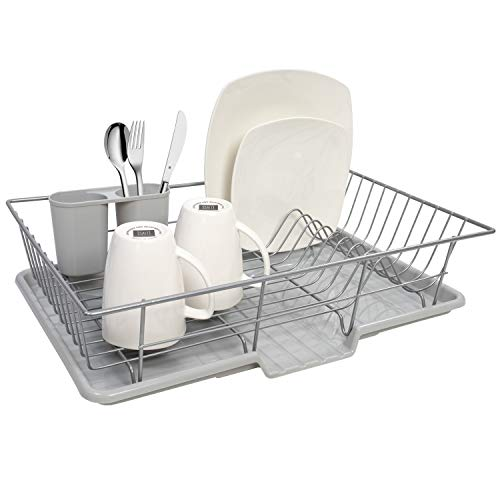 Sweet Home Collection 3 Piece Dish Drainer Rack Set, 12' x 19' x 5', Silver