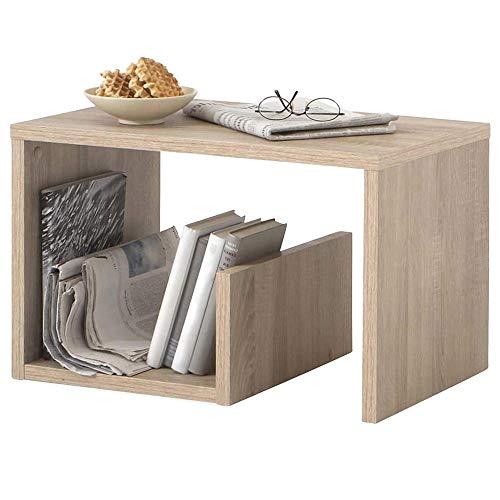 BAKAJI Tavolino da caffè Laterale Divano con Ripiano Libreria Portariviste Design Moderno Arredamento Casa Soggiorno Dimensione 59 x 36 x 38 cm (Quercia)