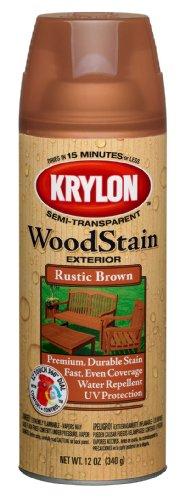Krylon K03603000 Exterior Semi-Transparent Wood Stain, Rustic Brown, 12 Ounce