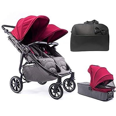 Silla Gemelar Easy Twin 4 Chasis Negro + 1 Capazo Baby Monsters Plástico de Lluvia y Barras Frontales incluidas Color Burdeos