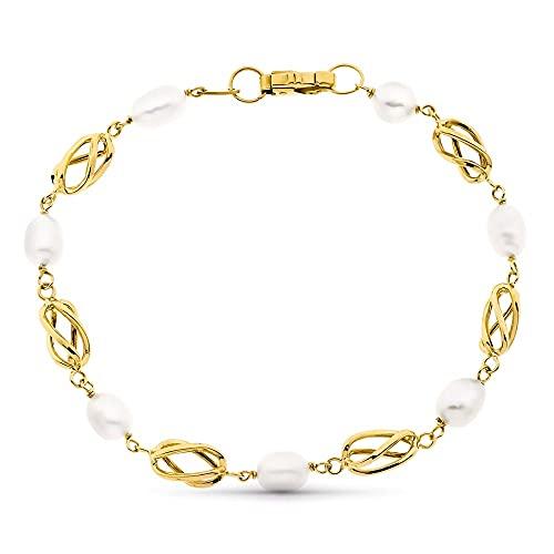 Pulsera oro 18k combinada perlas entrepiezas jaulas cierre mosquetón